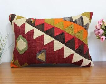 multı color kilim pillow bohemian kilim pillow turkish kilim pillow 16x24 euro sham kilim pillow anatolian kilim pillow