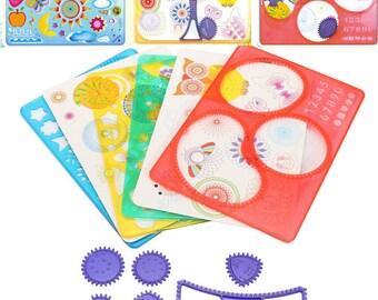 Colourful Creative Drawing deign Set Ring, inspired by Spirograph DIY Kids Art Craft 12pc Create Wonderful Art Work,Spiral Designs