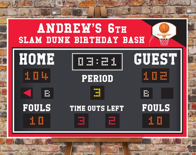 "Basketball Scoreboard Printable 24""x36"" Poster - Scoreboard Sign, Basketball Birthday,Self-Editing Text   INSTANT Download DIY Printable PDF"