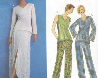 Womens Knit Tunic, Double Layer Skirt and Pants Lagenlook Patterns Simplicity Sewing Pattern 8626 Size 16 18 20 Bust 38 40 42 UnCut