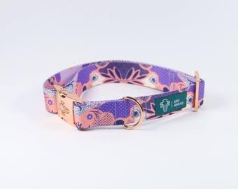 Dog collar- CANDY JUNGLE / VIOLET / purple / violet / rose gold / pink gold hardware / copper