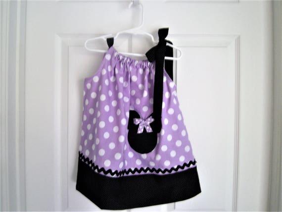 Minnie Mouse Dress, Purple Polka Dot Minnie Mouse,Handmade Dress, Birthday Dress, Pillowcase style Dress, Girls Dress, FREE SHIPPING