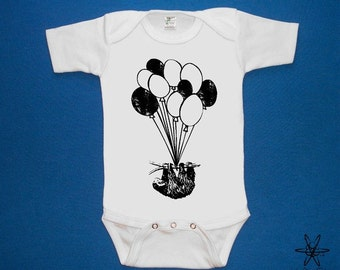 Sloth on Balloons baby one piece bodysuit shirt creeper screenprint Choose Size