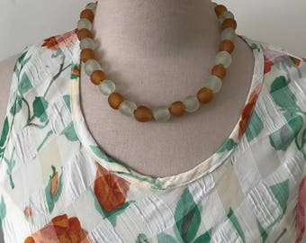 Vintage African Recycled Glass Choker Necklace Handmade Ethnic Boho Bohemian Trade Glass Gifts Under 30 Arty