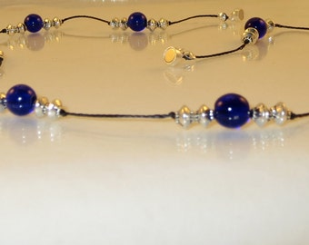 Cobalt Blue Knotted Necklace with Silver Accents