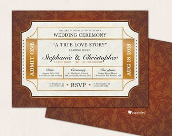 Cinema Ticket Wedding Invitation, Movies Ticket Invitation, Ticket Wedding Program, Movie Ticket Wedding, Golden Ticket Wedding Invitation