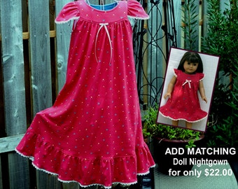Girls' NIGHTGOWN-Size 8 // 100% Cotton-Knit / Rosy Red Pajamas, Sleepwear / LONG-Full Length // Ready to Ship // Mid-weight fabric (9oz)
