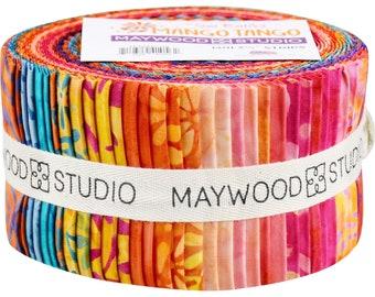 "Mango Tango Batiks Fabric Jelly Roll Quilt Fabric Maywood Studio - Precut strips 40 - 2.5"" wide - 100% Cotton Fabric Sushi Roll"