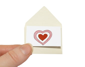 Father's Day card, miniature birthday card, miniature card & tiny envelope, tiny I love you card and miniature envelope, love heart card