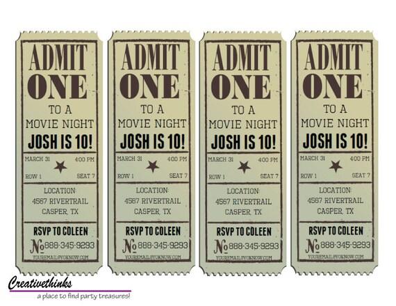 Editable Vintage Movie Ticket Invitation Digital File