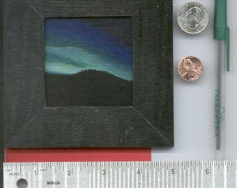 Mini Painting Aurora Borealis From Cheena Hot Springs, AK Acrylic On Board Framed