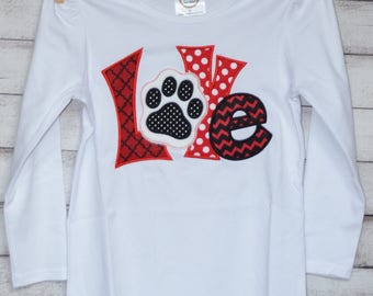 Personalized LOVE Football Paw Print Applique Shirt or Bodysuit