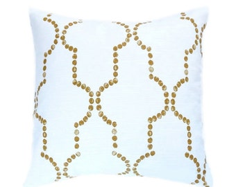 Creamy White Moroccan Pillow Cover Dotted Quartrefoil Pillow Brown Bronze White Euro Sham Moroccan Cushion Cover 18x18 Any Size
