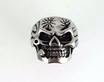 Mens Hot NEW Biker Motorcycle Stainless Steel Bullet Skull Ring Sizes 9-16