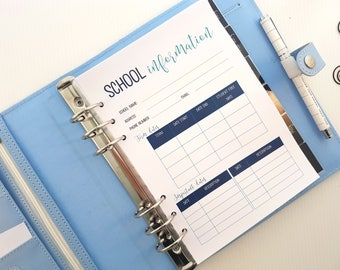 A5 School Information Planner Inserts | school tracker | mom planner | family binder | household management | printed planner inserts refill
