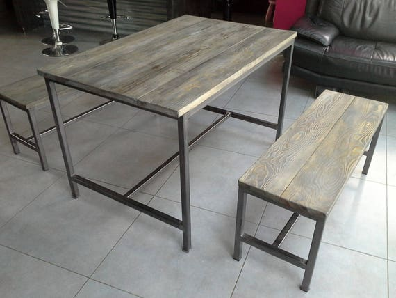 meuble industriel table de salle a manger 2 banc. Black Bedroom Furniture Sets. Home Design Ideas