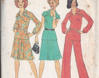 Simplicity 7299 Pattern for Misses' 2 Piece Dress, Top, Pants, Size 12, From 1975, Vintage Pattern, Home Sewing Pattern, 1975 Fashion