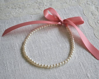 Rosalie {Little Girl}: Pearl Necklace - Small Ivory Pearls and Dusty Rose Ribbon Tie - Newborn PHOTO PROP