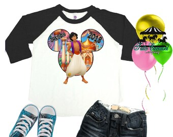 Aladdin Disney Shirt, Aladdin Shirt, Disney Vacation Shirt, Personalized Raglan Shirt, Toddler Youth Adult  (mc569)