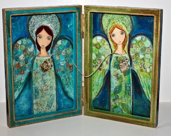 The Two Angels - Mixed Media Milagro Book Shrine  - Folk Art by FLOR LARIOS