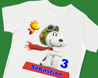 Snoopy vs Red Baron Tee. Personalized T-Shirt. Personalized with Name. Charlie Brown and the Peanuts Gang Theme Shirt. (15074)