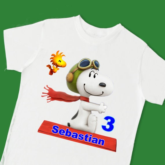 Youth or Adult Personalised Snoopy Red Baron T-shirt