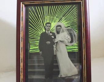 Embroidered vintage wedding photo