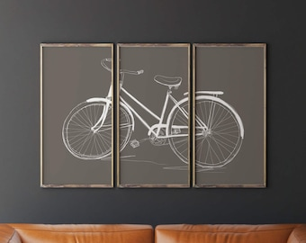 Printable Bicycle Art, Bicycle Wall Art, Bicycle Triptych, Taupe Wall Art, Living Room Decor, Living Room Wall Decor, Living Room Wall Art