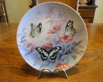 Retired Lena Liu Collector Plate, On Gossamer Wings Collection, Malachites, 4th, Butterflies, Flowers, Décor