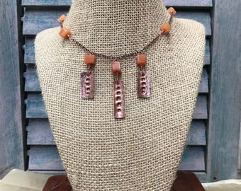 Handmade Recycled Copper Necklace with Russet-colored Agate Cube Beads:  Hammered and Stamped