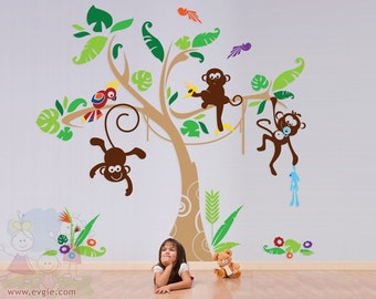 THE ORIGINAL Nursery Kids Removable Wall Vinyl Decal Children Wall Decals - Jungle Gym Playroom with Monkey Tree and Parrot