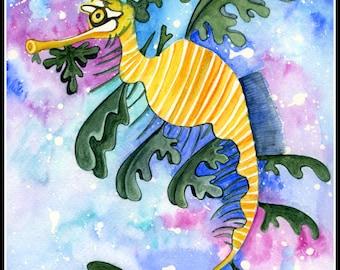 Leafy Sea Dragon Aquarelle Painting - Original Watercolor Painting - Illustrated Seadragon - child Illustration - Illustration Print