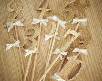 Table Numbers on Sticks.  Handcrafted in 2-5 Business Days.  Glitter Number Centerpiece.