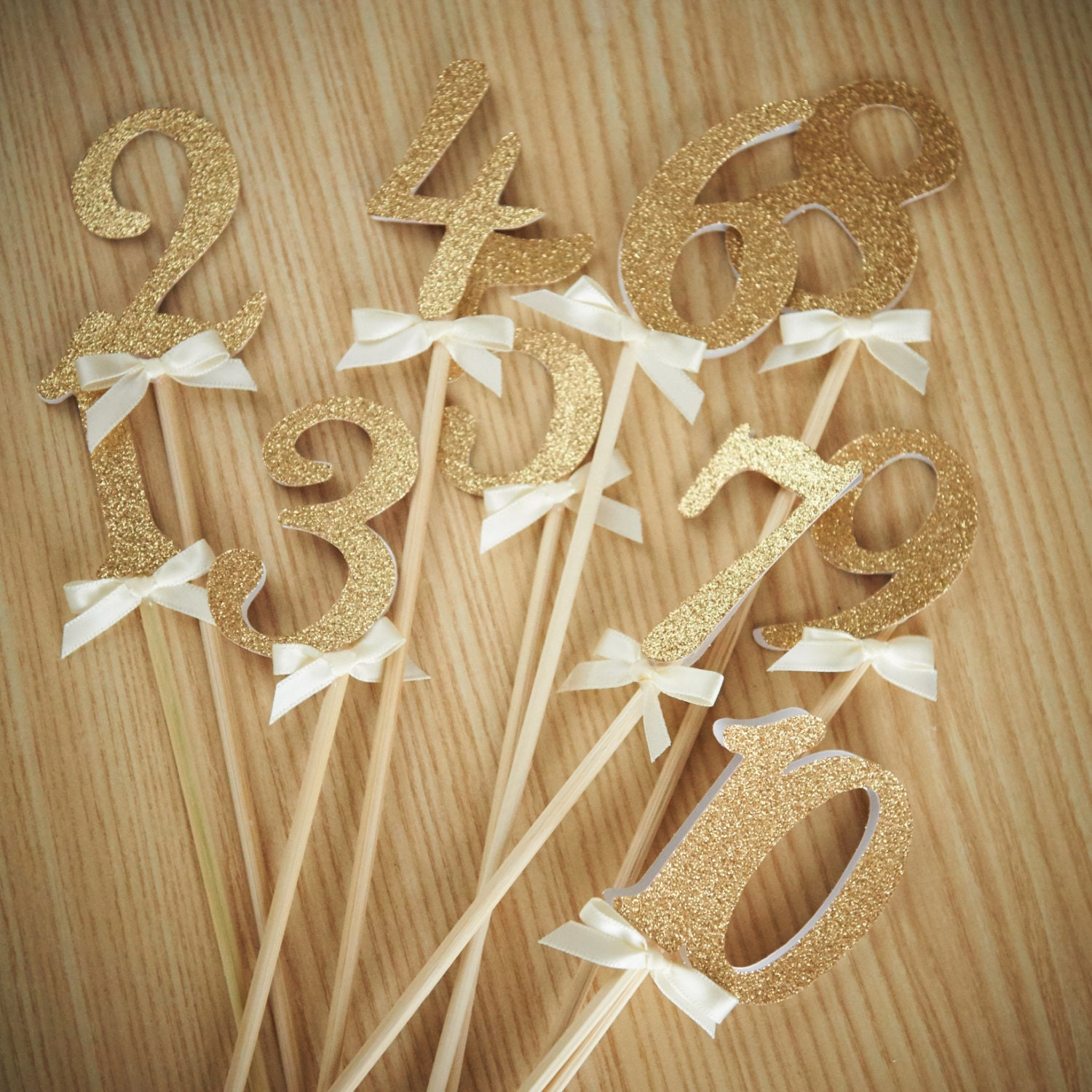 Table numbers on sticks handcrafted in 2 5 business days for Glitter numbers for centerpieces