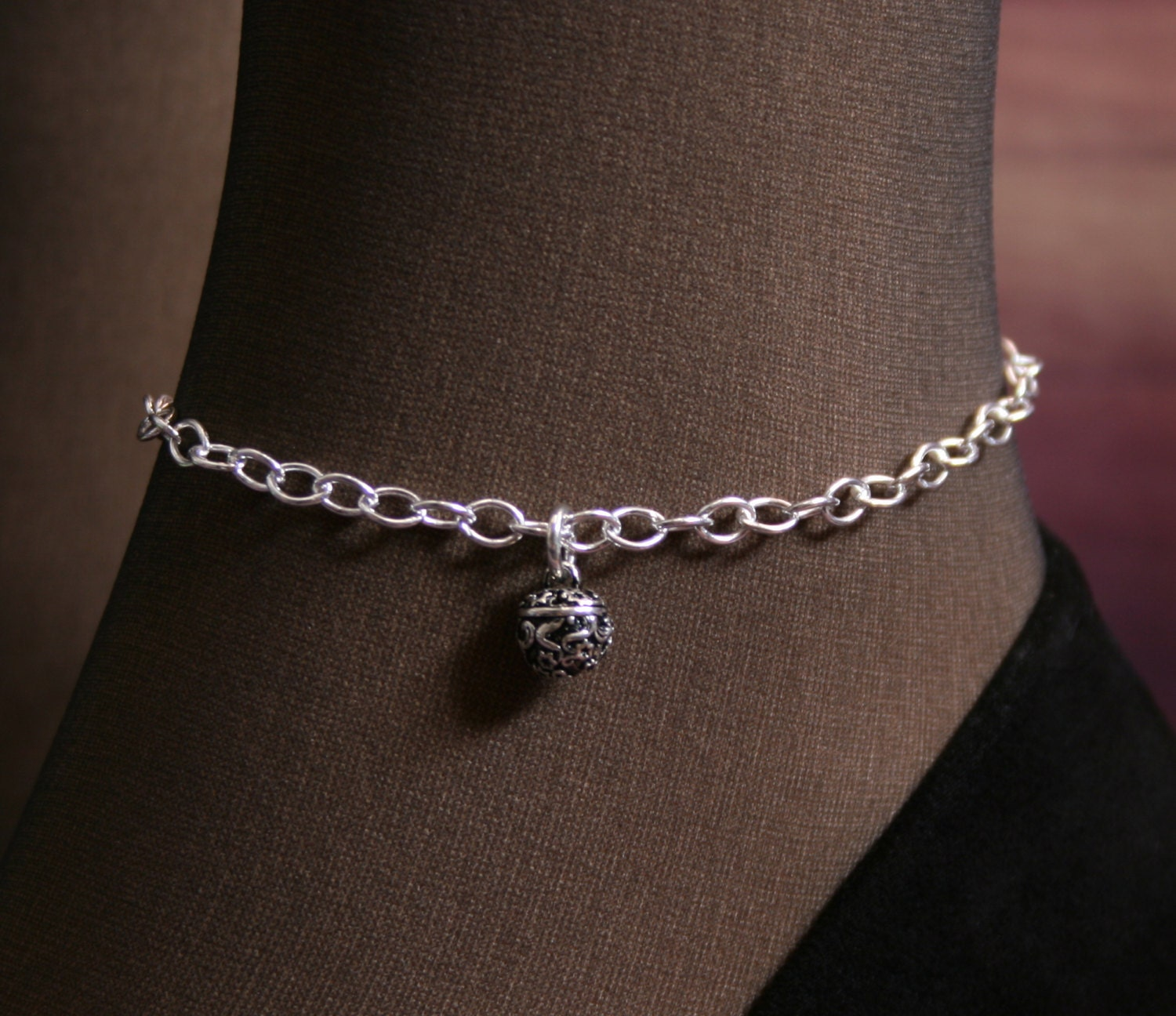 inch anklet fits pin read teeny silver ankles flowers with sterling