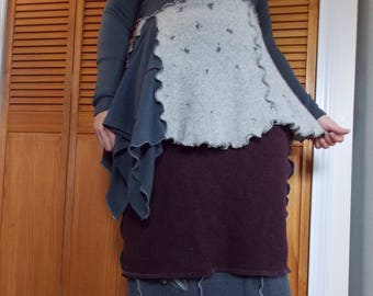 Asymmetric Colorblock Flare Sweater M Medium Recycled Wool Eco Friendly Women Earthy Gray Floral