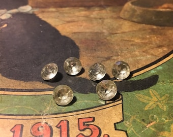 Vintage 7mm Faceted Round Glass Stones