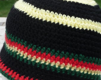 Red Black Yellow Green Orange crochet beanie hat