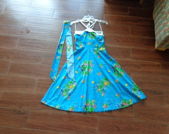 VINTAGE 1950's Blue Hawaiian Flower Print Strapless Summer Dress by Taby's Miami - available