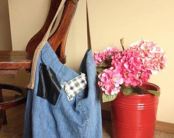 Jean Market Bag, Market Tote, Repurposed Denim Bag, Jean Tote, Denim Bag, Farmers Market Bag, Market Basket, Reclaimed Jeans, Handmade Bags