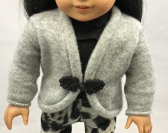18 inch doll gray sweater