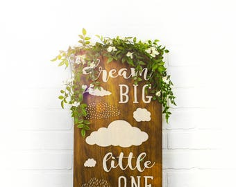 Dream Big Little One Sign, Dream Big Little One, Custom Wood Sign, Nursery Name Sign, Playroom Sign, Playroom Wall Decor (GP1131)