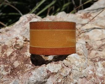brown leather cuff/modern striped leather cuff/upcycled leather cuff bracelet/mens cuff/leather cuff/rustic/distressed cuff/C284