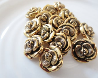 "Gold Flower Shank Buttons 3/4"" Metallic Black Set of 15"