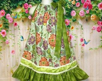 Girls Dress 4T/5 Green, Orange Floral Pillowcase Dress, Pillow Case Dress, Sundress, Boutique Dress