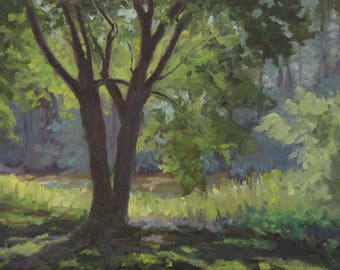 Summer Shade Along the Wolfboro Trail, New Hampshire - Original Oil Landscape Painting