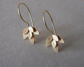 Gold Dangle Leaves Earrings - leaves earrings , gold dangle earrings , gift for her , gold earrings , woodland earrings
