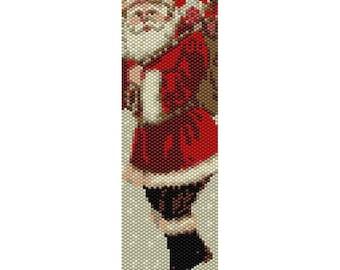 Santa Peyote Bead Pattern, Christmas Bracelet Cuff, Bookmark, Seed Beading Pattern Miyuki Delica Size 11 Beads - PDF Instant Download
