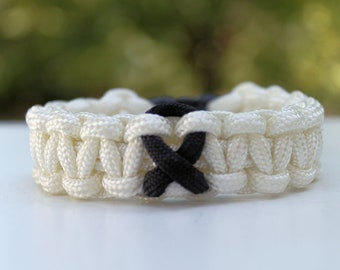 Melanoma Awareness Ribbon 550 Paracord Survival Strap Bracelet Anklet with Buckle