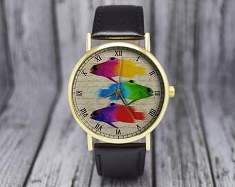 Tetra Fish Watch | Vintage Style | Leather Watch | Ladies Watch | Men's Watch | Gift for Him | Birthday Gift Ideas | Fashion Accessories